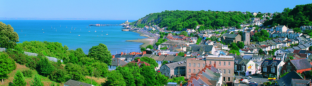 Mumbles Village from Oystermouth Castle, Gower Peninsula